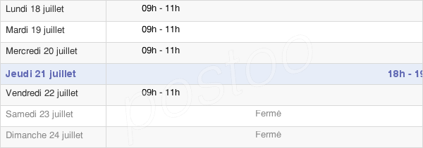 horaires d'ouverture de la Mairie De Baulne-En-Brie