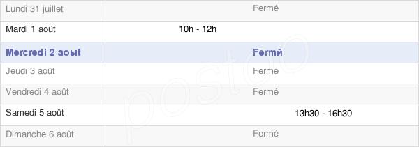 horaires d'ouverture de la Mairie De Sommeron