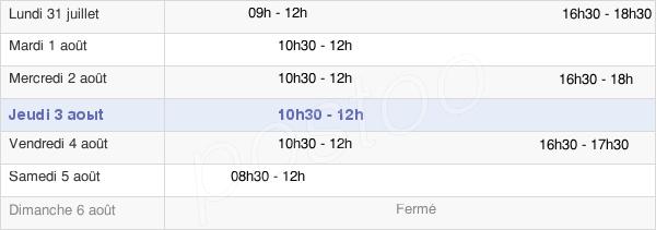 horaires d'ouverture de la Mairie De Crecy Sur Serre