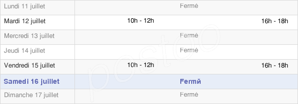 horaires d'ouverture de la Mairie De Quierzy