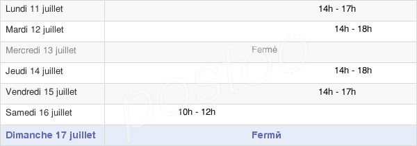 horaires d'ouverture de la Mairie De Sonnac