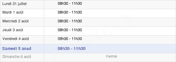 horaires d'ouverture de la Mairie De Flagnac