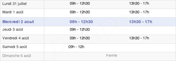 horaires d'ouverture de la Mairie De Saint-Geniez-D'Olt