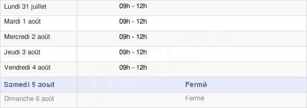 horaires d'ouverture de la Mairie De Cantoin