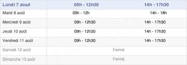 horaires d'ouverture de la Mairie D'Artix