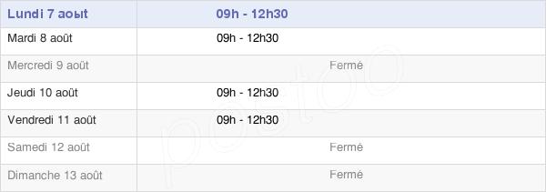 horaires d'ouverture de la Mairie De Montory