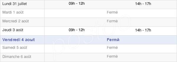 horaires d'ouverture de la Mairie De Bonloc