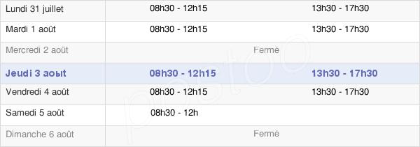 horaires d'ouverture de la Mairie De Saint-Martin-D'Arrossa