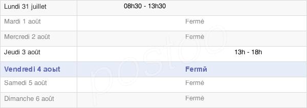 horaires d'ouverture de la Mairie De Bunus