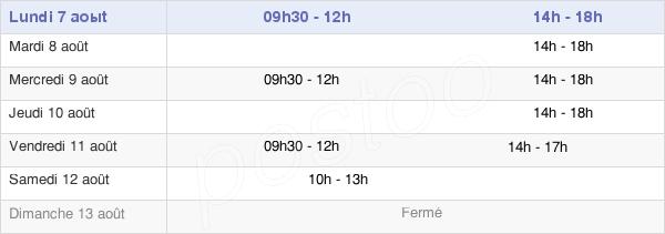 horaires d'ouverture de la Mairie De Bidos
