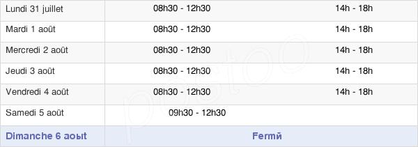 horaires d'ouverture de la Mairie D'Espelette