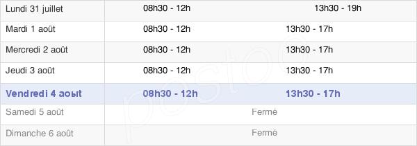 horaires d'ouverture de la Mairie De Lescar