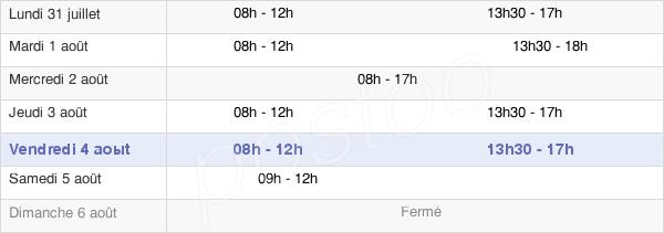 horaires d'ouverture de la Mairie De Mourenx