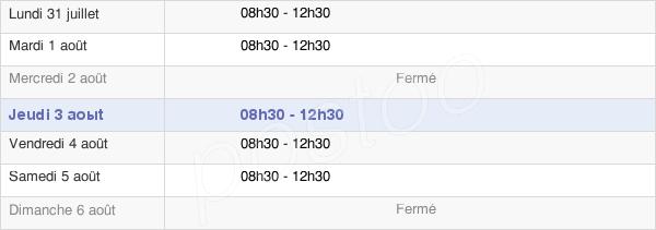 horaires d'ouverture de la Mairie De Bruges-Capbis-Mifaget