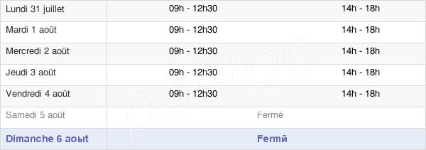 horaires d'ouverture de la Mairie De Sare