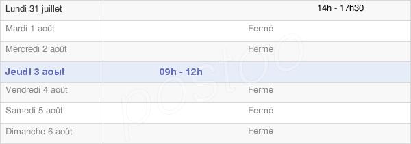 horaires d'ouverture de la Mairie De Hours