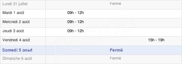 horaires d'ouverture de la Mairie De Ganac