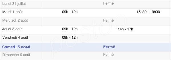 horaires d'ouverture de la Mairie De Cos