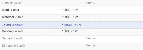 horaires d'ouverture de la Mairie D'Engomer