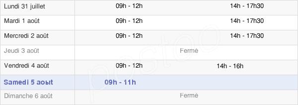 horaires d'ouverture de la Mairie De Montjoie-En-Couserans