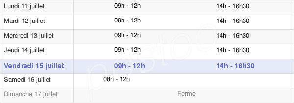 horaires d'ouverture de la Mairie De Fossat