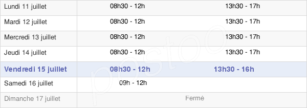 horaires d'ouverture de la Mairie D'Étretat