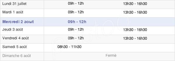 horaires d'ouverture de la Mairie De La Feuillie