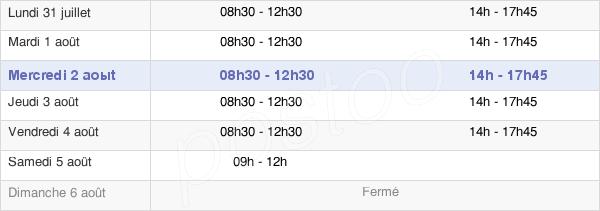 horaires d'ouverture de la Mairie De Barentin