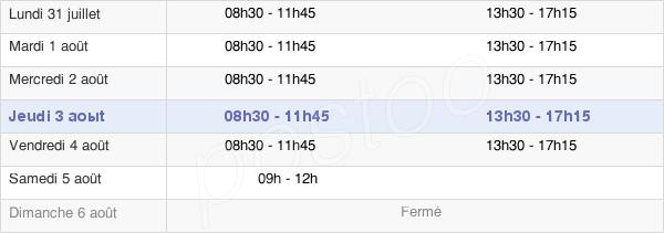 horaires d'ouverture de la Mairie De Caudebec-Lès-Elbeuf