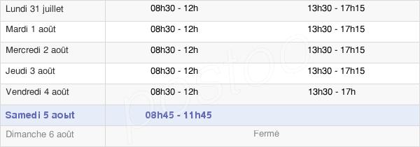 horaires d'ouverture de la Mairie De Villiers Sur Marne