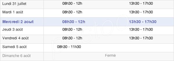 horaires d'ouverture de la Mairie De Wassy