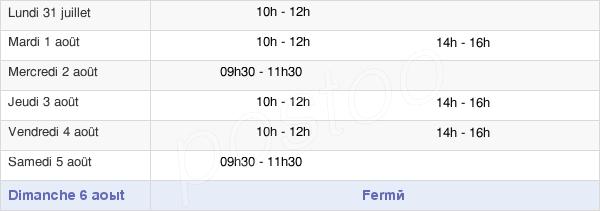 horaires d'ouverture de la Mairie De Montier-En-Der