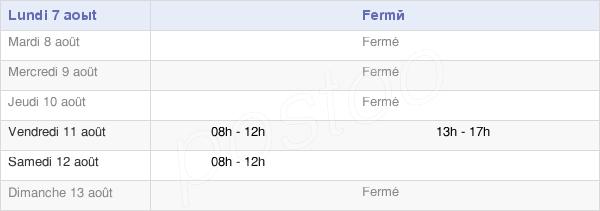 horaires d'ouverture de la Mairie De Planrupt