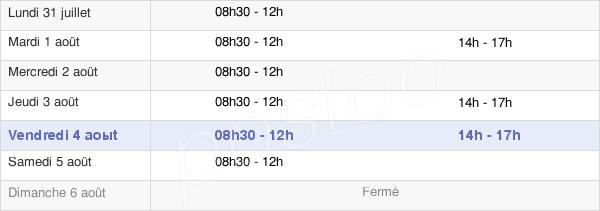 horaires d'ouverture de la Mairie De Saint-Julien-Le-Montagnier