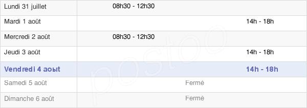 horaires d'ouverture de la Mairie De La Bastide