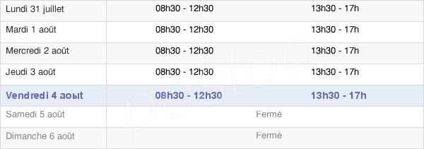 horaires d'ouverture de la Mairie Des Arcs