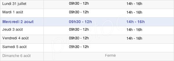 horaires d'ouverture de la Mairie De Callas