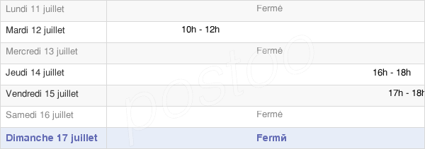 horaires d'ouverture de la Mairie De Cannessieres