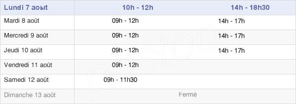 horaires d'ouverture de la Mairie De Veyre-Monton