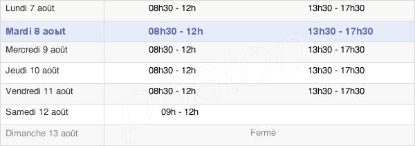 horaires d'ouverture de la Mairie De Bourg-Lastic