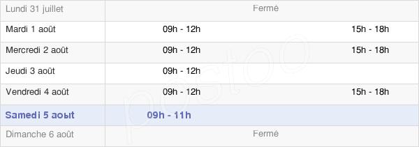 horaires d'ouverture de la Mairie D'Orcet
