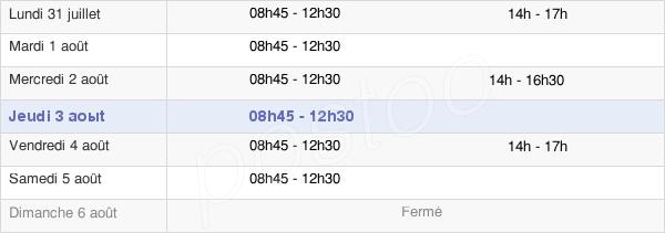 horaires d'ouverture de la Mairie De Chanonat
