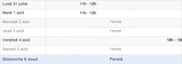 horaires d'ouverture de la Mairie De Vendresse