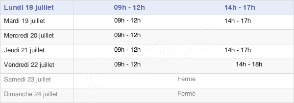 horaires d'ouverture de la Mairie De Margut