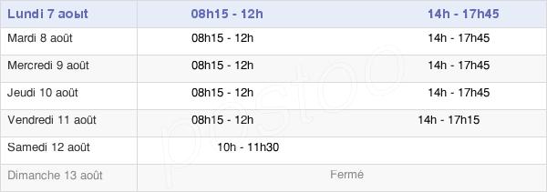 horaires d'ouverture de la Mairie De Bogny-Sur-Meuse
