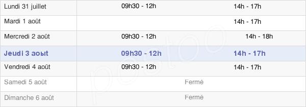 horaires d'ouverture de la Mairie De Donchery