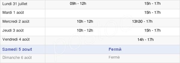 horaires d'ouverture de la Mairie De Lumes