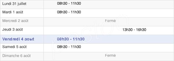 horaires d'ouverture de la Mairie De Coucy