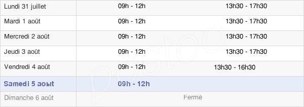 horaires d'ouverture de la Mairie De Sault-Lès-Rethel