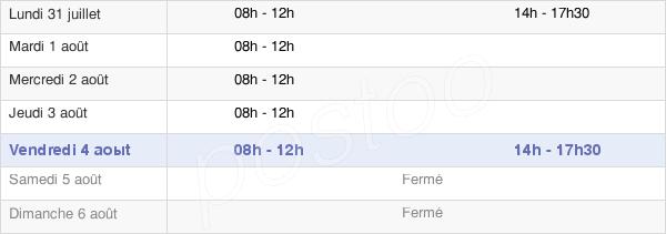 horaires d'ouverture de la Mairie De Saint-Menges